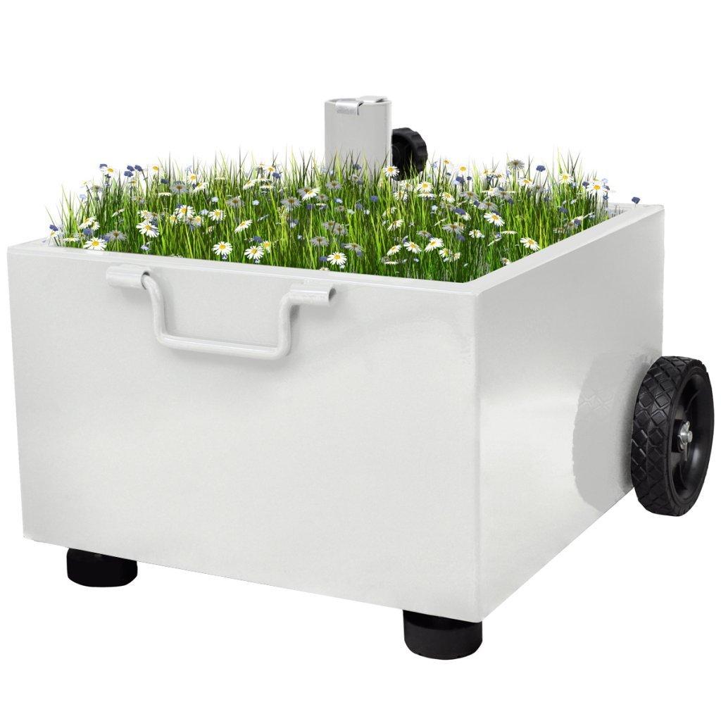 Anself Outdoor Garden Parasol Base Wheels Umbrella Stand Plant Pot Green