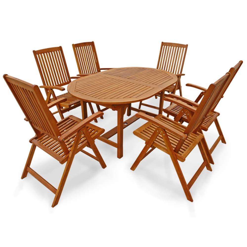 Indoba Hochwertiges Gartenmöbel Set XL 7 -teilig Eukalyptus verstellbar klappbar Gartenset Eukalyptus Tisch Stuhl Gartentisch Gartenstühle