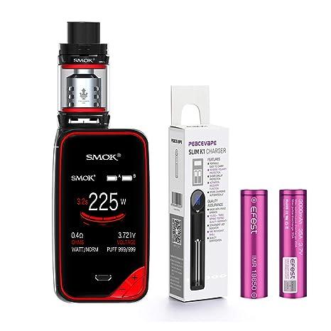 AUTÉNTICO SMOK X PRIV Kit 225W TFV12 PRINCE 2mL Tank Cigarrillo electrónico (Negro/ROjo) SMOK XPRIV con 2 X EFEST 3000 mAh Batería y cargador de 18650 ...