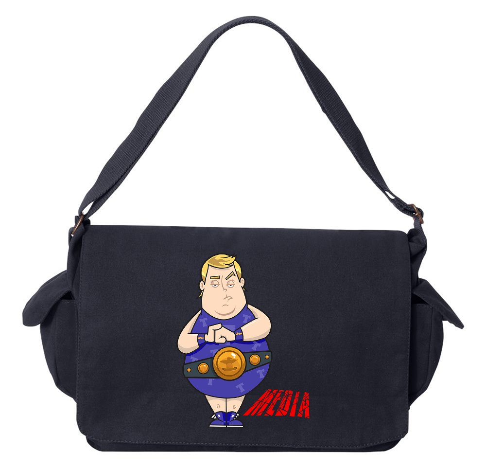 Tenacitee Wrestling Trump Navy Brushed Canvas Messenger Bag by Tenacitee