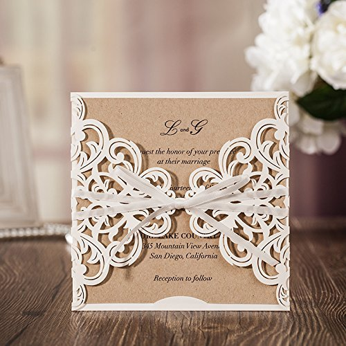 50PCS Wedding Invitations Jofanza Wedding Invitations Cards Laser Cut White Rustic Square Invitation with Bow Lace Sleeve for Engagement Baby Bridal Shower Birthday Quinceanera (CW6175)
