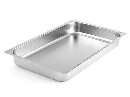 H&H - Bandeja de acero inoxidable Gastronorm, borde llano, 53 x 32,5