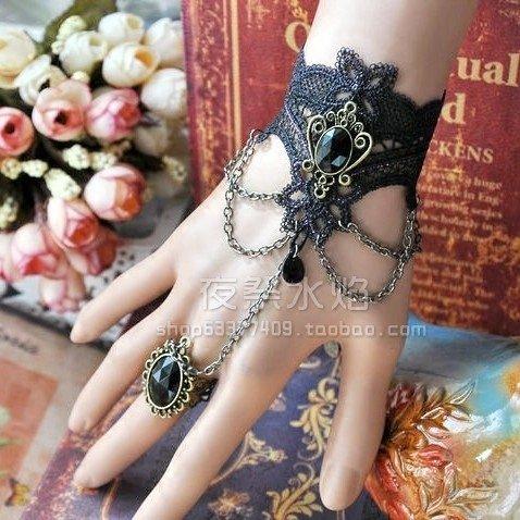265ecfde3 Amazon.com: Custom Fallen Angel Baroque retro fringed hollow ring inlaid  Purple Line exquisite lace one-piece bracelet