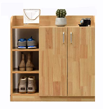 Isa Solid Wood Multi Layer Shoe Cabinet Large Capacity Oak Shoe Cabinet  With Three Doors