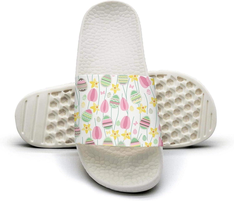AKDJDS Easter Eggs Flowers flip Flops Slippers for Men