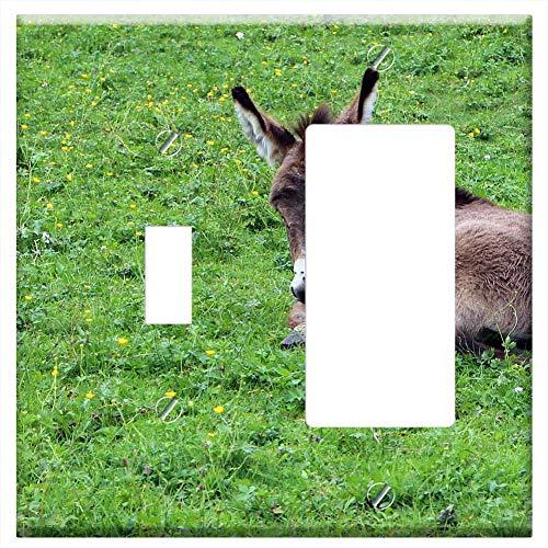 (1-Toggle 1-Rocker/GFCI Combination Wall Plate Cover - Donkey Donkey Foal Foal Baby Animal Animal Wo )