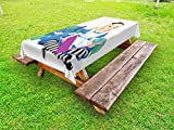 Ambesonne Alice in Wonderland Outdoor Tablecloth, Alice Reading Book Cat Colorful World Happiness Love Character Image, Decorative Washable Picnic Table Cloth, 58 X 84 inches, Multicolor