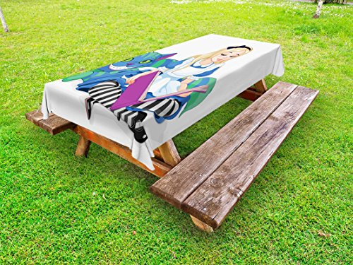 Ambesonne Alice in Wonderland Outdoor Tablecloth, Alice Reading Book Cat Colorful World Happiness Love Character Image, Decorative Washable Picnic Table Cloth, 58 X 84 inches, Multicolor by Ambesonne