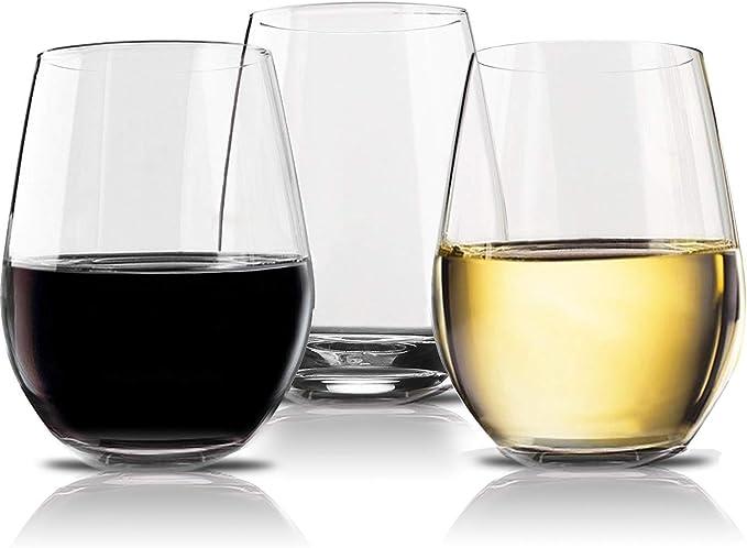 Vivocci Unbreakable Elegant Plastic Stemless Wine Glasses 20 oz | 100% Tritan Heavy Base | Shatterproof Glassware | Ideal For Cocktails & Scotch | Perfect For Homes & Bars | Dishwasher Proof, ...