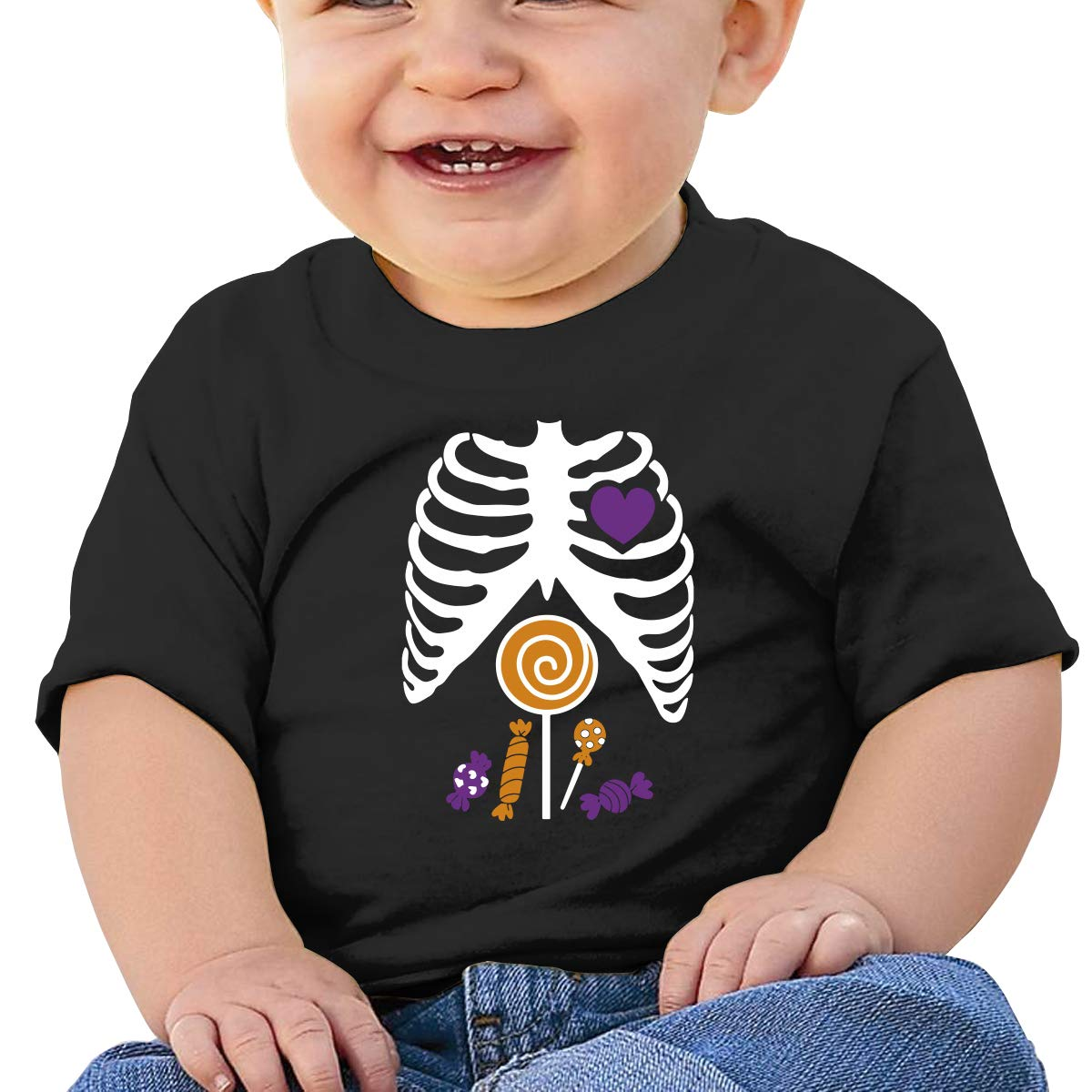 Skeleton Candy Rib-cage X-Ray Halloween Funny Baby Boys Girls Short Sleeve Crew Neck T-Shirt 6-18 Month Tops