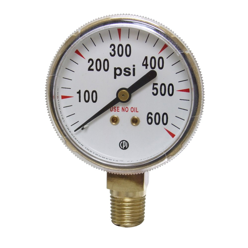 Uniweld G8S Gauge with 0-600 PSI and 1/4-Inch NPT Bottom Mount Gold Steel Case, 2-Inch