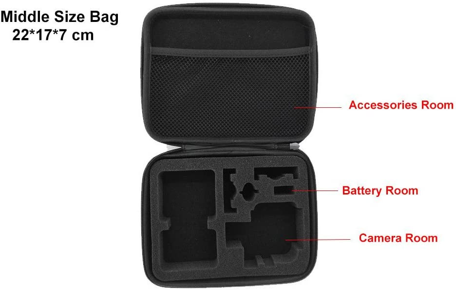 SUNMENCO Portable Medium Size Collection Water Resistant Bag Protective Storage Case for GoPro Hero 4//3+//3 Action Cameras Digital Camcorder Accessories