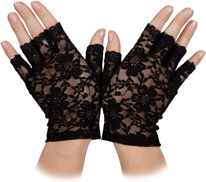 Adult Ladies White Lace Short Fingerless Gloves Madonna Lady 1980/'s  Fancy Dress