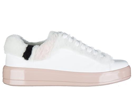Prada Scarpe Sneakers Donna in Pelle Nuove Bianco  Amazon.it  Scarpe e borse 82bdc176578