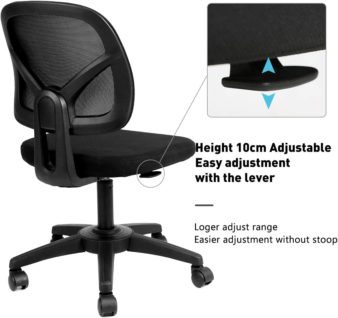 HBADA Office Chair, Mesh Desk Task Chair, Ergonomic Computer Chair With Adjustable Height For Adults And Kids,Black