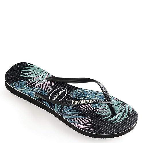 a31f45fa3bda99 Havaianas Women s Slim Tropical Floral Sandal Black Pink 35-36 M Bra