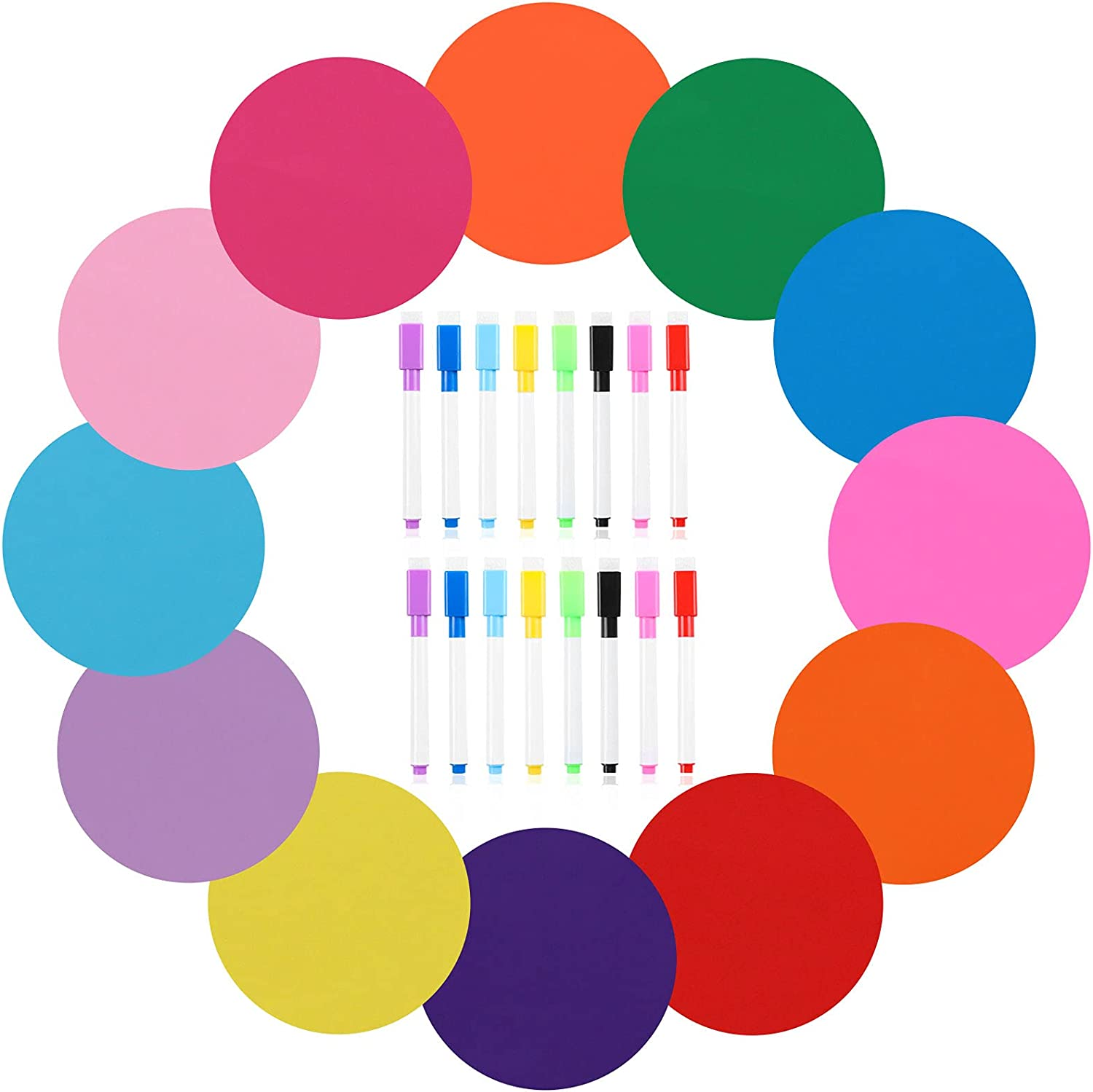 12 Pack 11 Inch Colorful Dry Erase Circles for Classroom Tables Desk, Removable Vinyl Dots Stickers Wall Decal Table Spots with 16 Pieces Dry Erase White Board Markers for Home Office