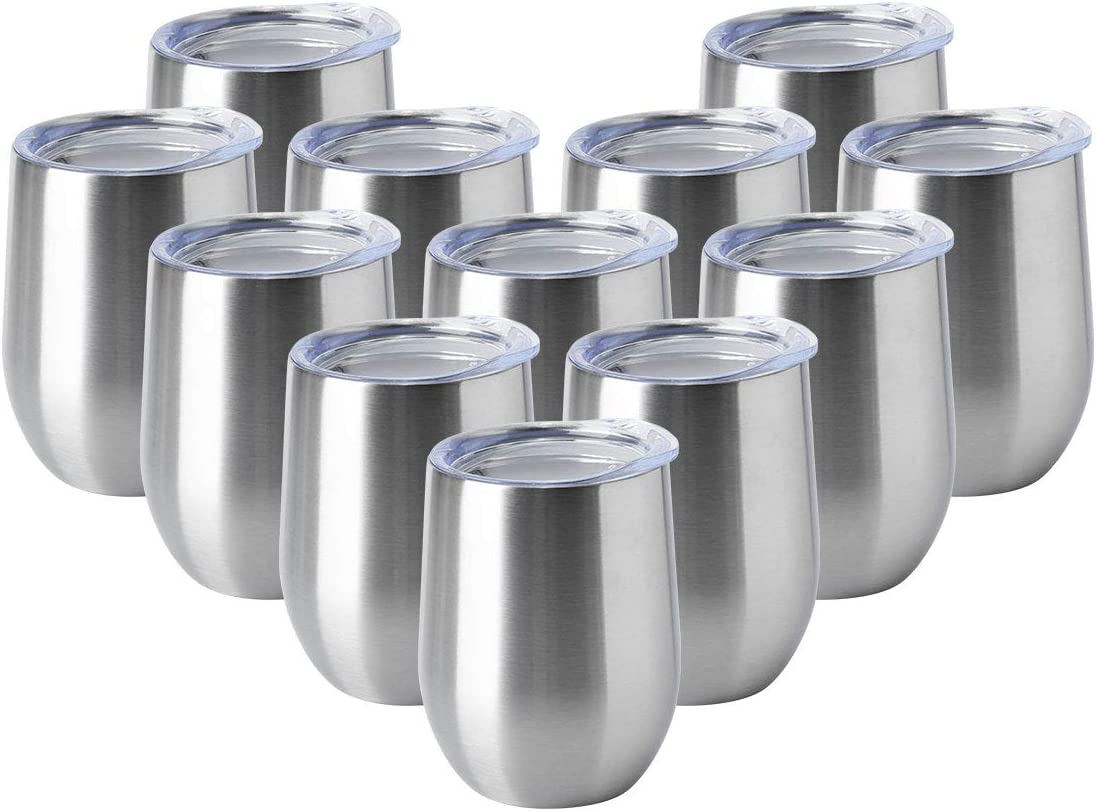 HASLE OUTFITTERS 12oz Wine Tumbler with Lid Stemless Wine Glasses Double Wall Vacuum Travel Mugs Stainless Steel Coffee Cup for Cold & Hot Drinks Wine Coffee Cocktails Beer 12 Pack Stainless Steel