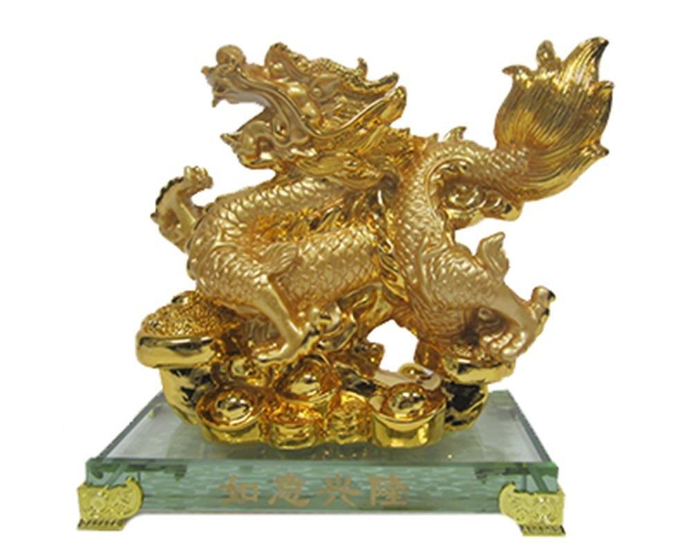 StealStreet SS-MU-LQ017 7.75 Inch Dragon Top Yuan Bao with Base Figurine