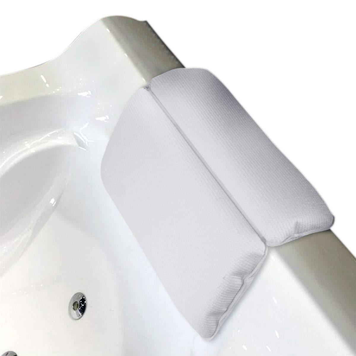 SODIAL Bathroom Bathtub Pillow Bathtub Bath SPA Headrest Waterproof Pillows with Sucker White