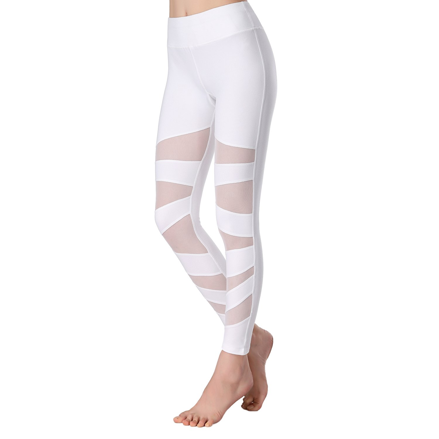 newlashua Mesh Yoga Pants Tummy Control 4 Way Stretch Gym Workout Leggings Beepeak pant07-2