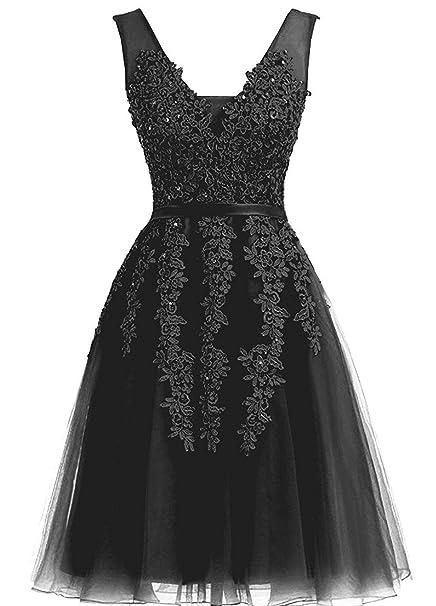 4c31e816640 Caissen Women s Short Ball Gown Sheer V-Neck Beading Appliques Tulle Prom  Dress V-