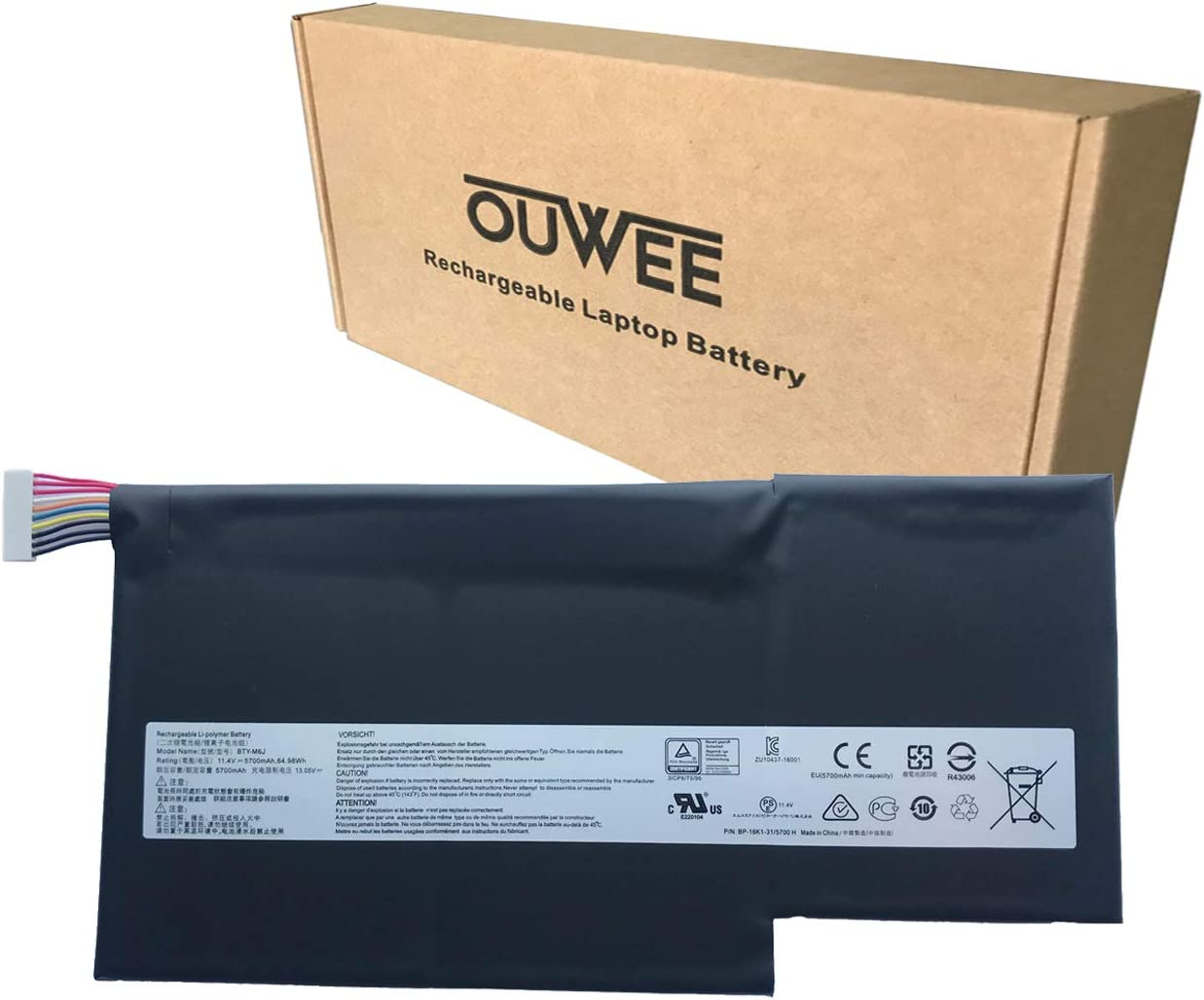 OUWEE BTY-M6J Laptop Battery Compatible with MSI GS63 7RE-009CN 018CN GS63VR 6RF-016CN 095CN 7RF-239CN 258CN GS73 7RE-004CN GS73VR 6RF-013CN 7RF-284CN Series BTY-U6J 11.4V 64.98Wh 5700mAh