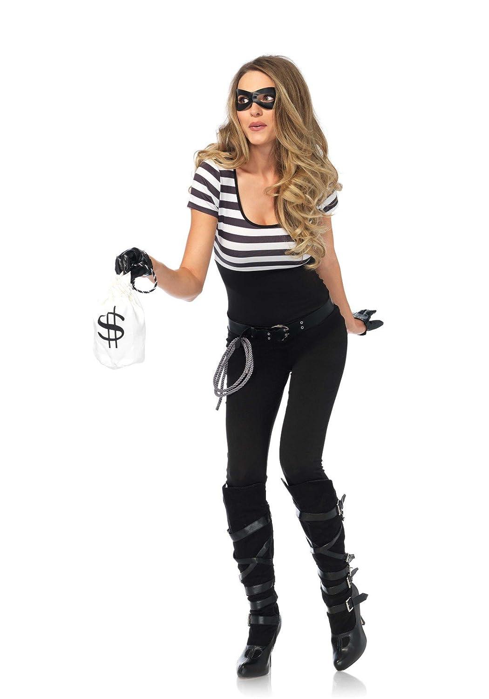 Leg Avenue 85530 Negro/Blanco Banco Robbin Bandit Fancy Dress ...