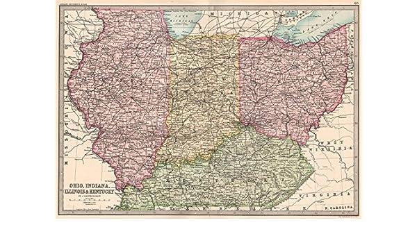 Amazon.com: MIDWESTERN USA. Ohio, Indiana, Illinois & Kentucky ... on tennesse map, virgina map, vermont map, new brunswick map, mexico map, yukon territory map, d.c. map, henry county ill map, ca map, british columbia map, rhode island map, district of columbia map, pa map, nova scotia map, prince edward island map, northwest territories map, delaware map,