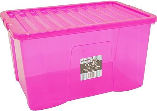 Wham – Set de 60 litros de plástico caja de almacenaje con tapa (Pack de 5): Amazon.es: Bricolaje y herramientas