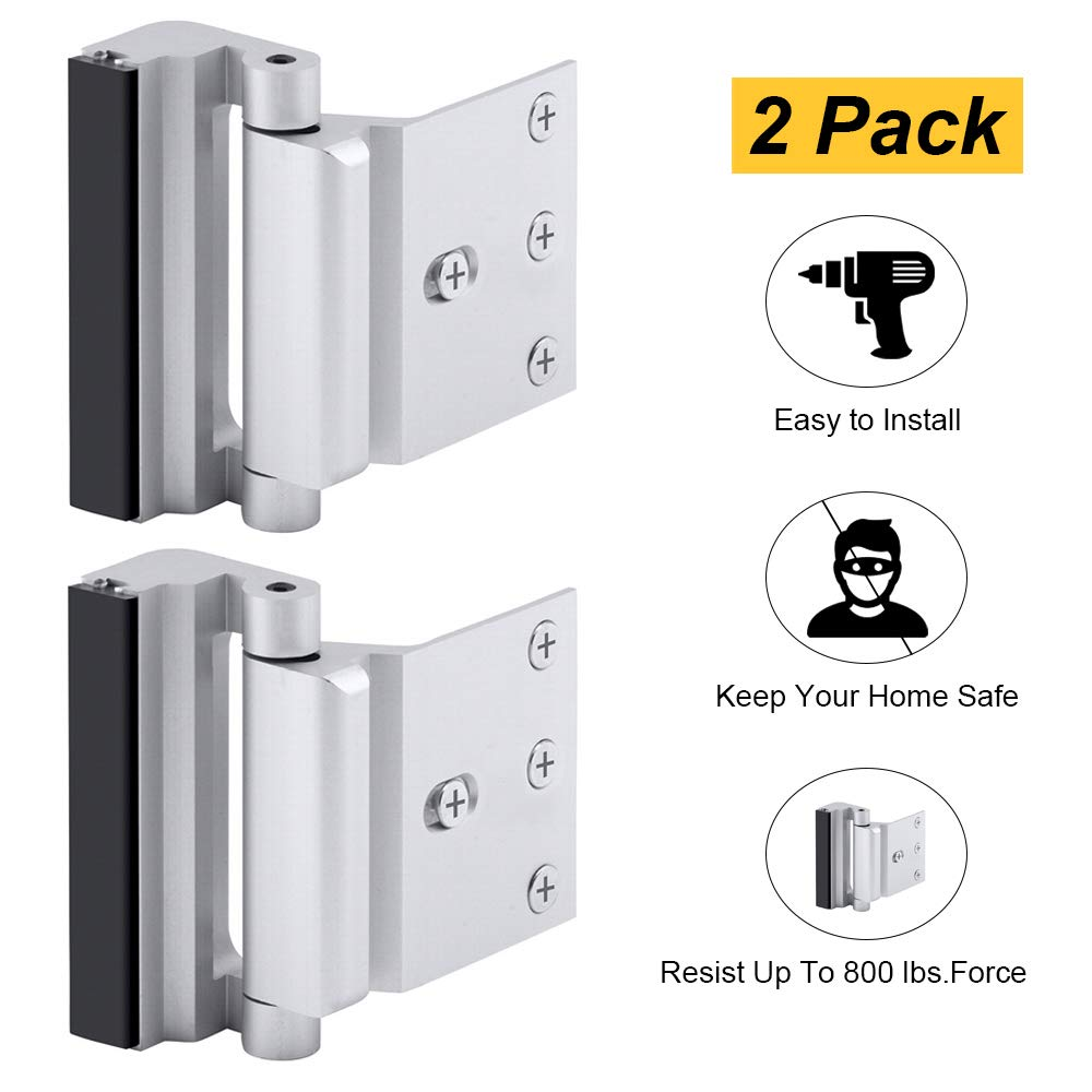 Home Security Door Lock, Childproof Door Reinforcement Lock with 3'' Stop Withstand 800 lbs for Inward Swinging Door, Upgrade Night Lock to Defend Your Home (Silver-2 Pack)