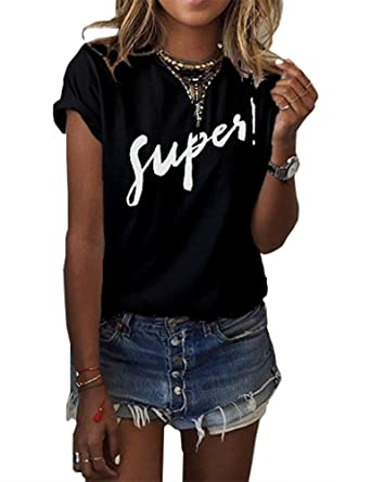 04513cf30b8 Haola Women s Summer Street Printed Tops Funny Juniors T Shirt Short Sleeve  Tees Black S