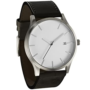 Reloj con correa de cuero, estilo minimalista, reloj de pulsera de cuarzo, relojes