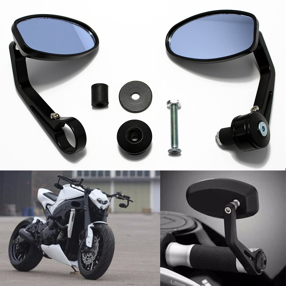 Rich Choices Universal CNC Motorcycle 7/8'' Handle Bar End Oval Rearview Mirrors For Honda Yamaha Suzuki Sports Bike Street Fighter