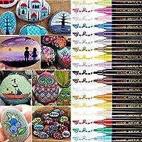 Stylos à peinture acrylique, YITHINC Set de 18 marqueurs pour la peinture sur roche, céramique, porcelaine, verre,...
