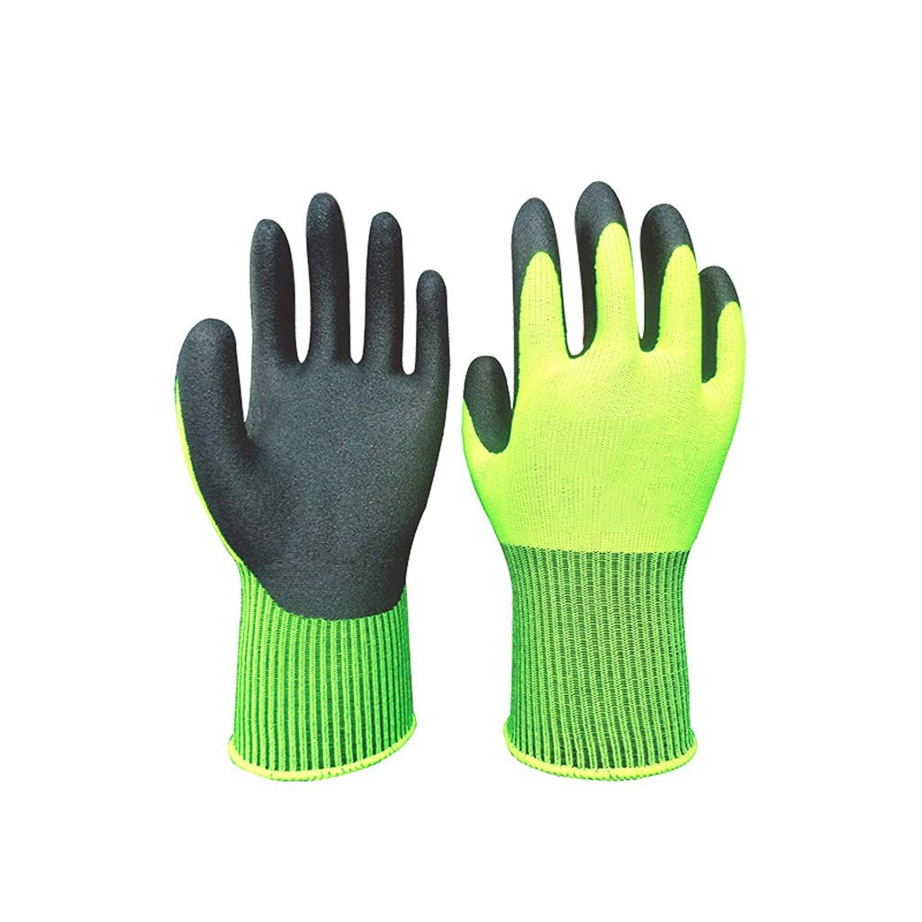 RYYAIYL Industrial Gloves Ideal for Auto Repair Home Improvement Slip Resistant All Purpose Work Gloves (Green 5 Pairs) by RYYAIYL