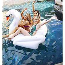 Giant Inflatable Golden Swan Pool Floats, Fun Inflatable Swimming Float Toys with Rapid Valves for Adults and Kids Bed Pool PVC Water Recreation Leisure Chair 190X170X140CM …