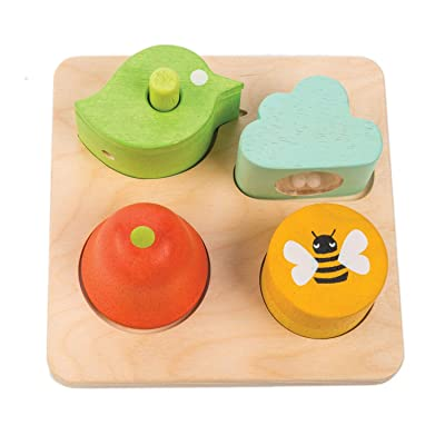 Tender Leaf Toys - Sensory Trays - Baby Blocks, Shape Sorter, STEM Learning Shape Identification Sorting Game Toy for Kids 18 Month + (Audio Sensory Trays): Toys & Games