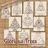 Glorious Trees Christmas Holiday Redwork Embroidery Machine Designs on CD - Multiformat Pattern CD