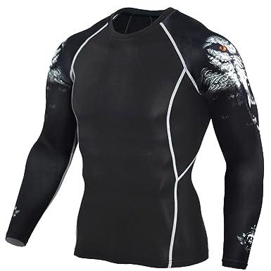 c4a9e6e92e2c Homme T-Shirts de Compression Sport Manches Longues Séchage Rapide Vêtements  de Fitness Jogging Style