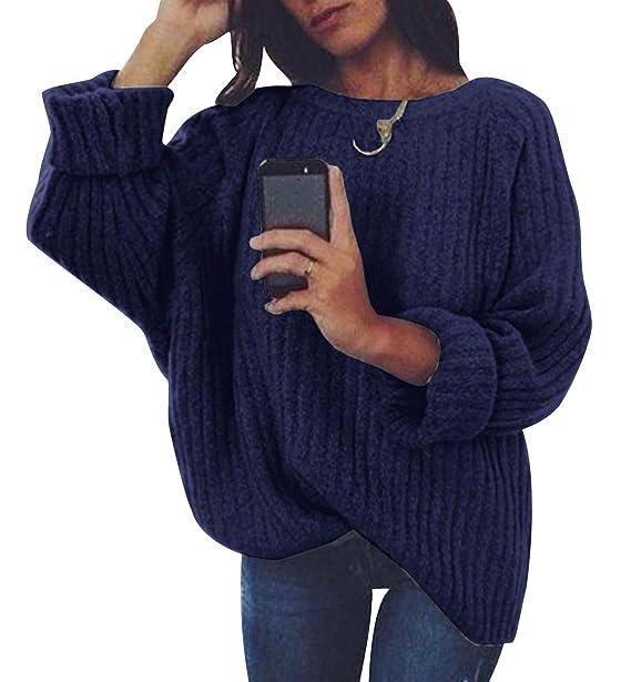 Jersey Punto Mujer Sueter Manga Larga Jerseys Grueso De Señora Oversize  Jerséis Largo Jerseis Cuello Redondo Chica Sweaters De Mujer Suéter  Pullover Tejido ... e70d933b1879