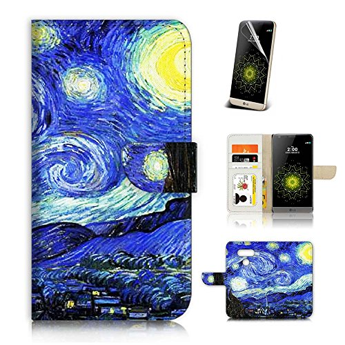 LG G6 Flip Wallet Case Cover & Screen Protector Bundle! A20036 Starry Night Van Gogh