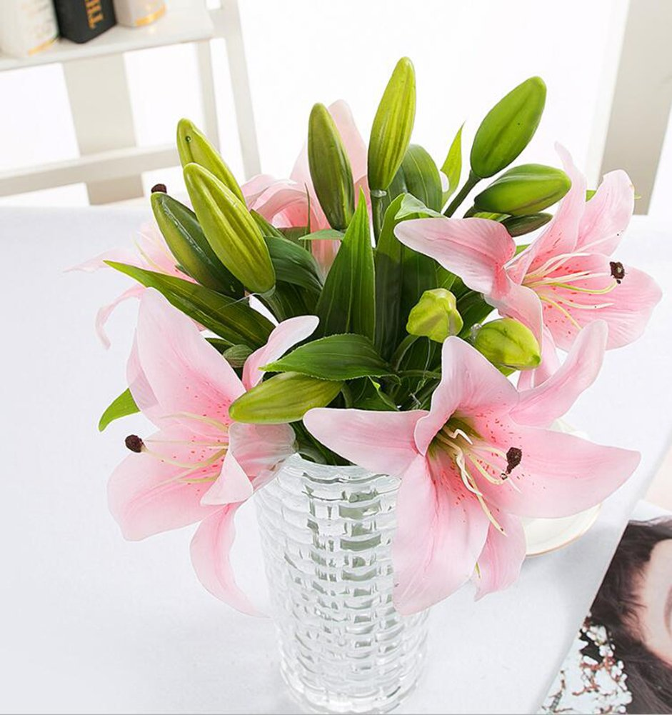 Pink lily bush artificial flower nniuk lily real touch perfume pink lily bush artificial flower nniuk lily real touch perfume lily flower bouquet weddinggravesvases5pcs amazon kitchen home reviewsmspy