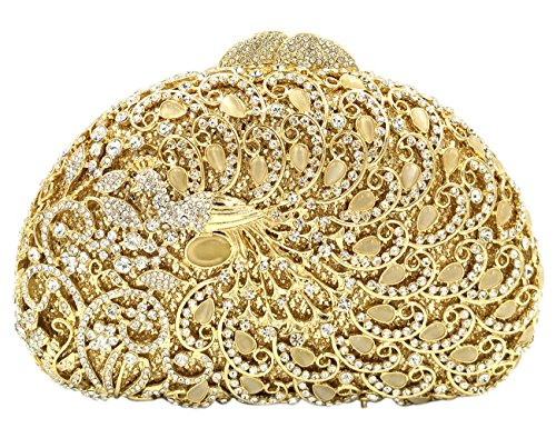 Mano Gold Cadena Noche Carteras Cristales Nupcial Pavo Mujer Real Partido Embrague Bolso Dorado Brillo Bolsas 60qFwfcU