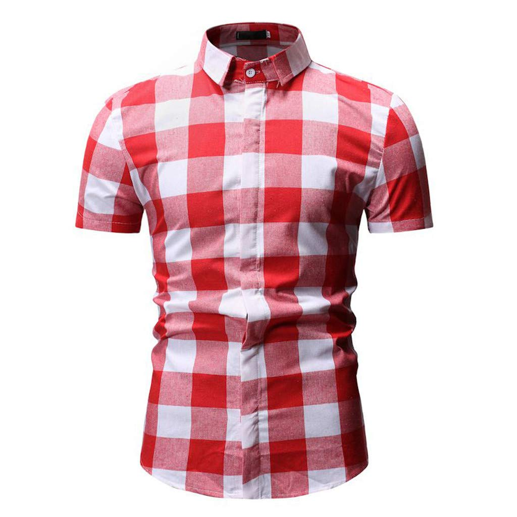 Pervobs Shirts for Men Newest Summer Simple Plaid Long Sleeve Fashion Button-Down Turn-Down Collar Blouse Tops(XL, Red)