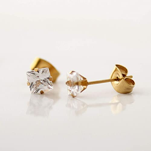 05a52d392 Amazon.com: Square Cubic Zirconia Stainless Steel Earring, Clear ...