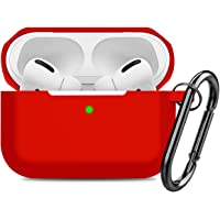 Compatible AirPods Pro Case Cover Silicone Protective Case Skin for Apple Airpod Pro 2019 (Front LED Visible) Red