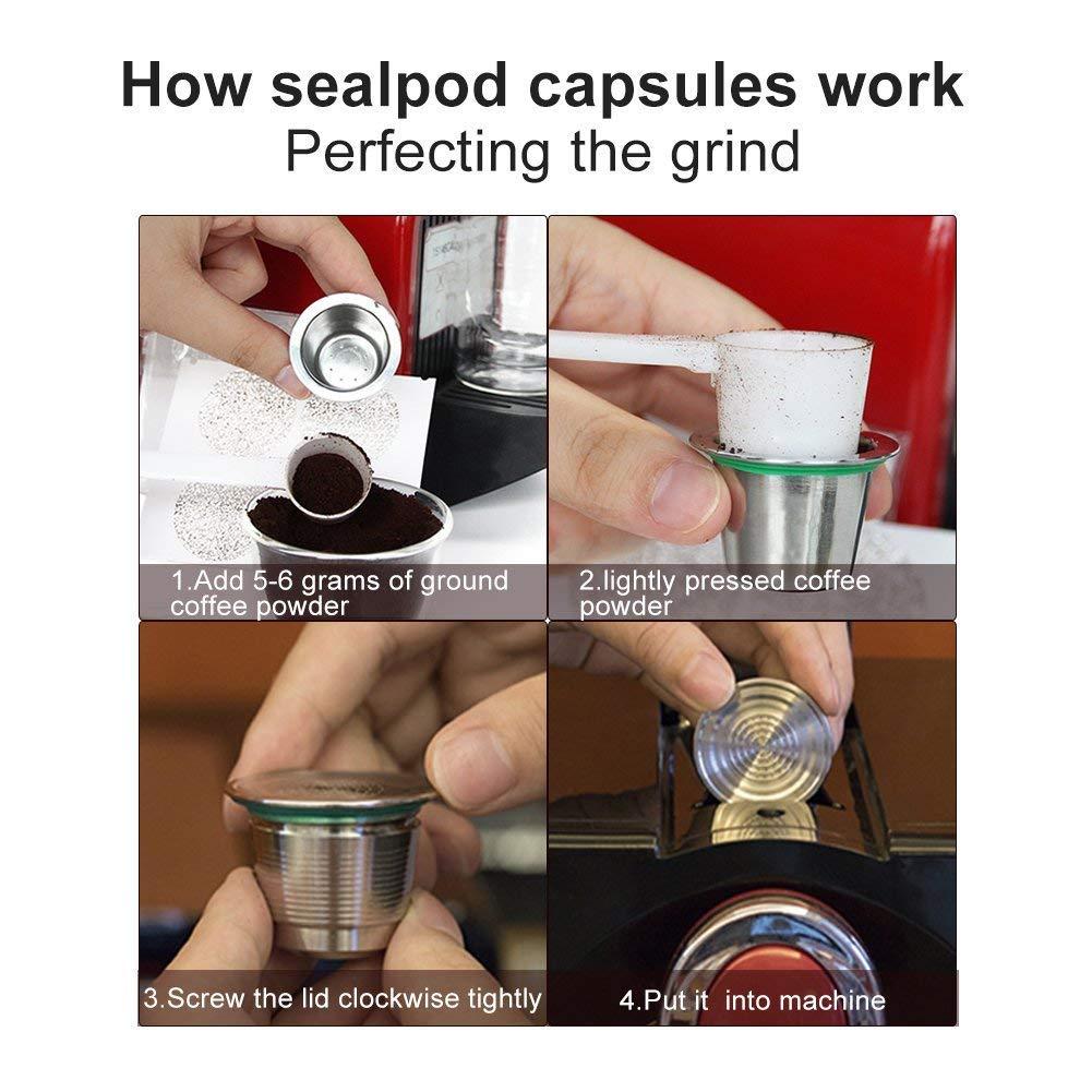 Kit prensador de café para Nespresso Máquina de café de acero inoxidable + cápsula recargable de máquina café Nespresso en acero inoxidable + cuchara de ...