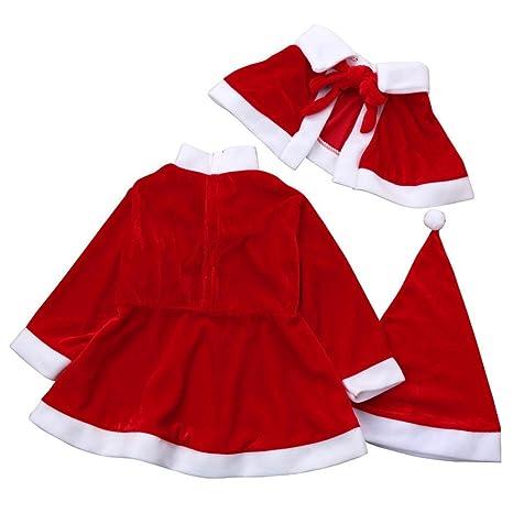 Bestow Ropa de Navidad Vestidos De Fiesta De Disfraces + Chal + Traje De Sombrero (5-6T, Rojo)