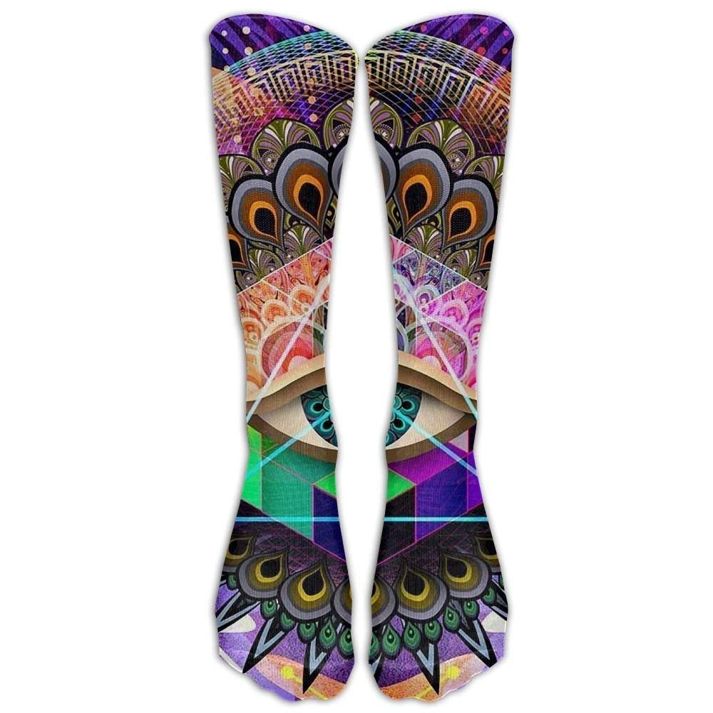 Long Dress Socks Colorful Tattoo Trippy Acid Eye Soccer Comfortable Breathable Over-the-Calf Tube Voxpkrs